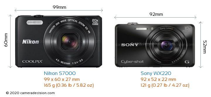 Nikon S7000 vs Sony WX220 Camera Size Comparison - Front View
