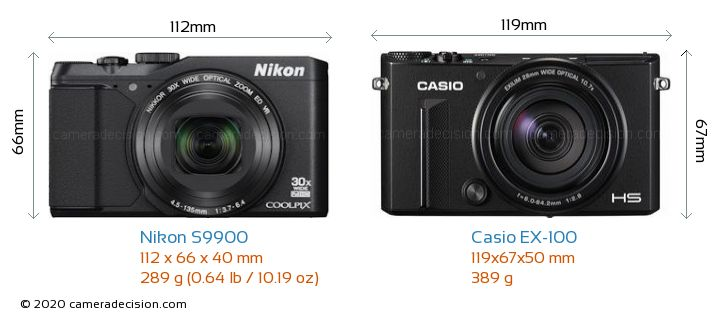 Nikon S9900 vs Casio EX-100 Camera Size Comparison - Front View