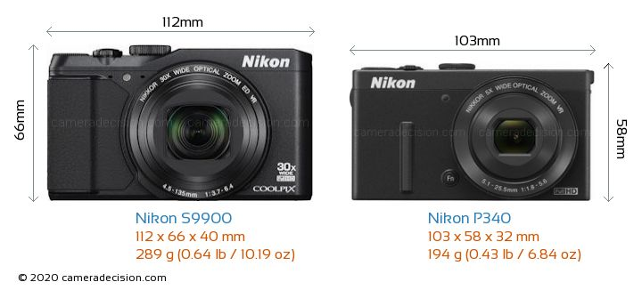 Nikon S9900 vs Nikon P340 Camera Size Comparison - Front View