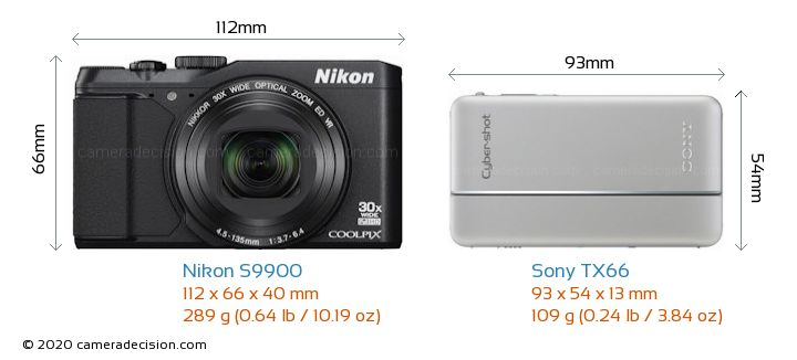 Nikon S9900 vs Sony TX66 Camera Size Comparison - Front View