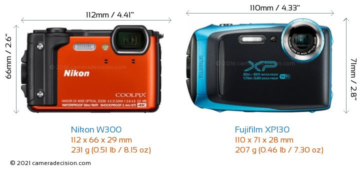 Nikon W300 vs Fujifilm XP130 Camera Size Comparison - Front View