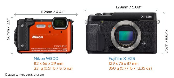 Nikon W300 vs Fujifilm X-E2S Camera Size Comparison - Front View