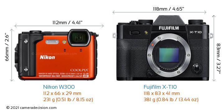 Nikon W300 vs Fujifilm X-T10 Camera Size Comparison - Front View