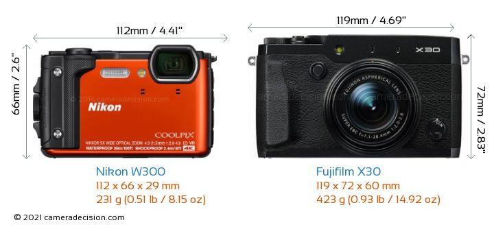 Nikon W300 vs Fujifilm X30 Camera Size Comparison - Front View