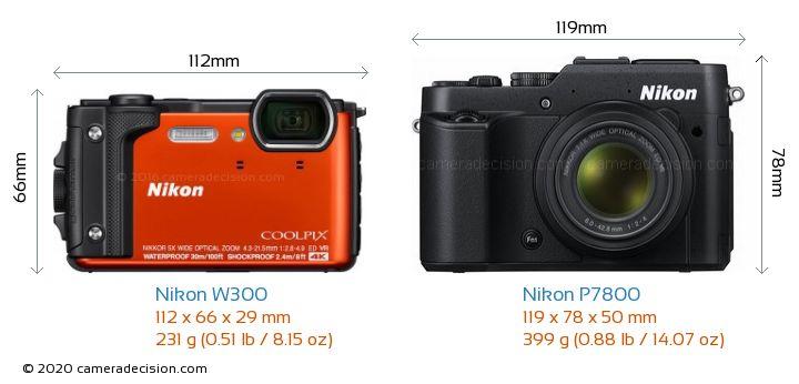 Nikon W300 vs Nikon P7800 Camera Size Comparison - Front View