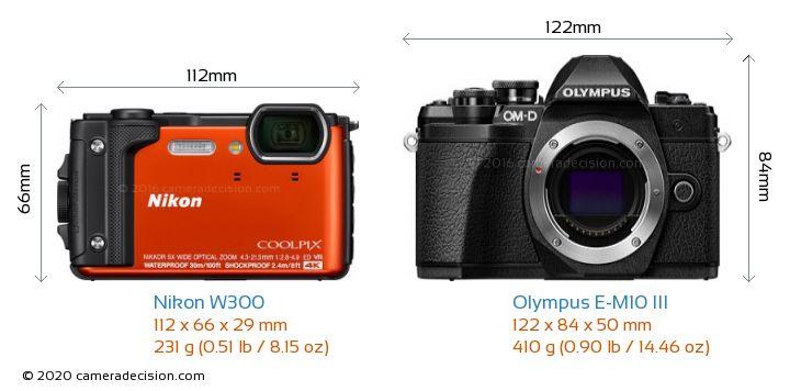 Nikon W300 vs Olympus E-M10 MIII Camera Size Comparison - Front View