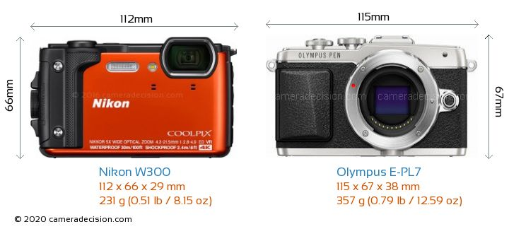 Nikon W300 vs Olympus E-PL7 Camera Size Comparison - Front View