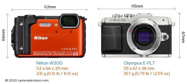 Nikon W300 vs Olympus E-PL7 Camera Size Comparison - Front View