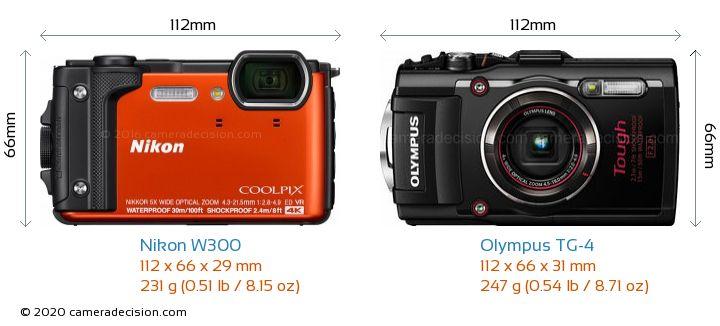 Nikon W300 vs Olympus TG-4 Camera Size Comparison - Front View