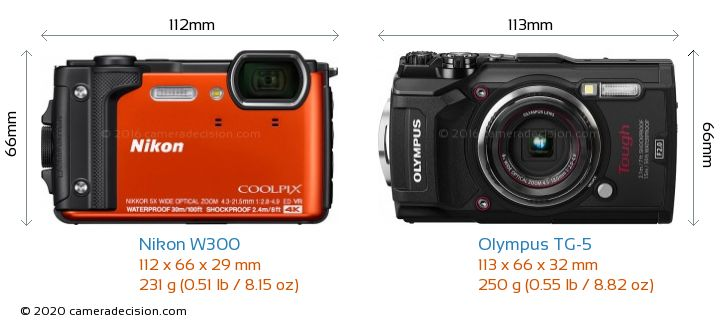 Nikon W300 vs Olympus TG-5 Camera Size Comparison - Front View