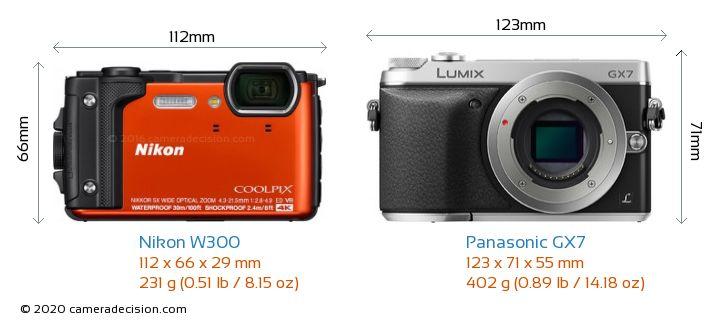 Nikon W300 vs Panasonic GX7 Camera Size Comparison - Front View