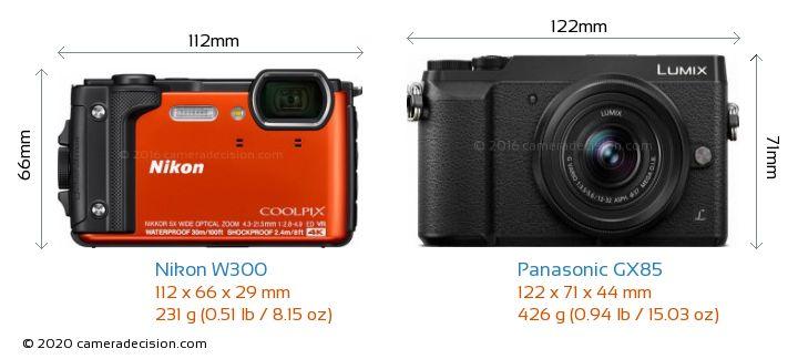 Nikon W300 vs Panasonic GX85 Camera Size Comparison - Front View
