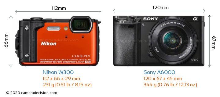 Nikon W300 vs Sony A6000 Camera Size Comparison - Front View