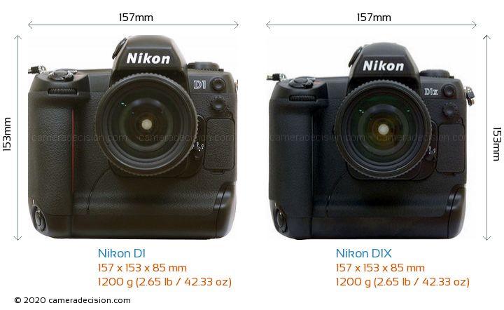 Nikon D1 vs Nikon D1X Camera Size Comparison - Front View