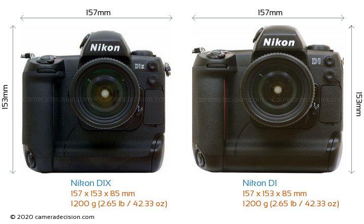 Nikon D1X vs Nikon D1 Camera Size Comparison - Front View