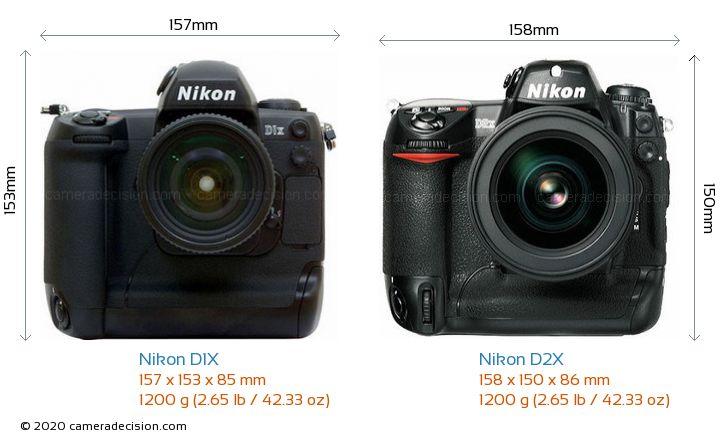 Nikon D1X vs Nikon D2X Camera Size Comparison - Front View