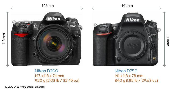 Nikon D200 vs Nikon D750 Camera Size Comparison - Front View