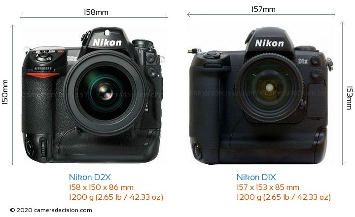 Nikon D2X vs Nikon D1X Camera Size Comparison - Front View