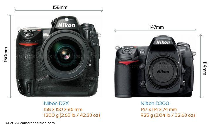 Nikon D2X vs Nikon D300 Camera Size Comparison - Front View