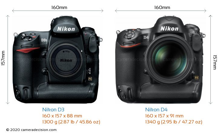 Nikon D3 vs Nikon D4 Camera Size Comparison - Front View