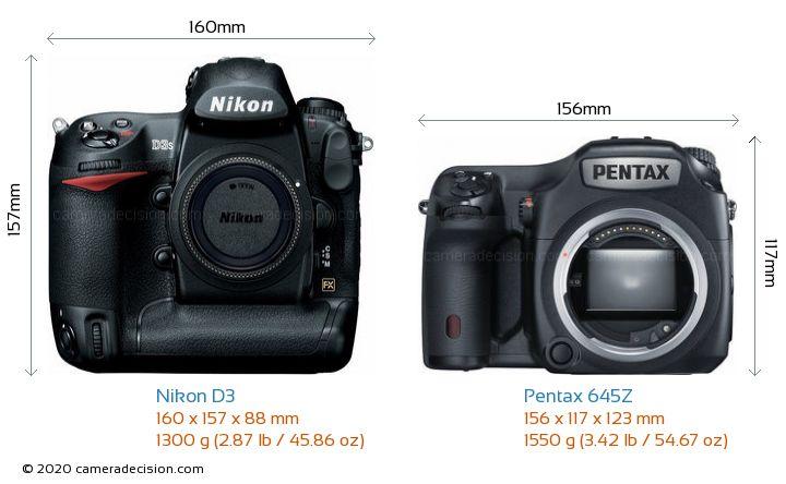 Nikon D3 vs Pentax 645Z Camera Size Comparison - Front View