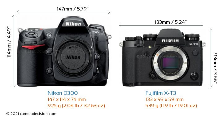 Nikon D300 vs Fujifilm X-T3 Camera Size Comparison - Front View