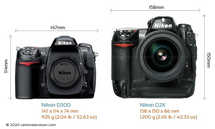 Nikon D300 vs Nikon D2X Camera Size Comparison - Front View