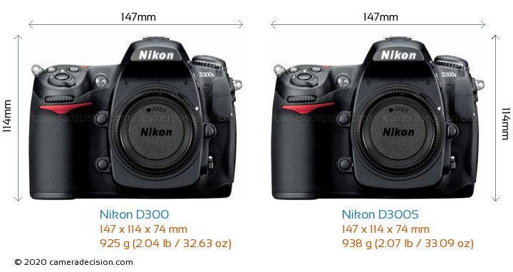 Nikon D300 vs Nikon D300S Camera Size Comparison - Front View