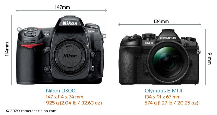 Nikon D300 vs Olympus E-M1 II Camera Size Comparison - Front View