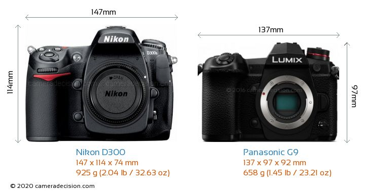 Nikon D300 vs Panasonic G9 Camera Size Comparison - Front View