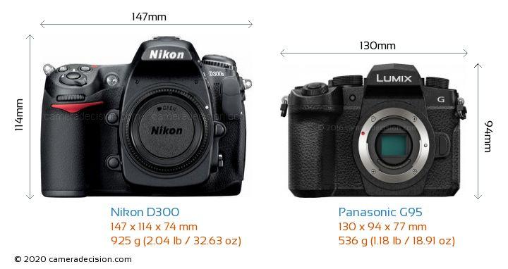 Nikon D300 vs Panasonic G95 Camera Size Comparison - Front View