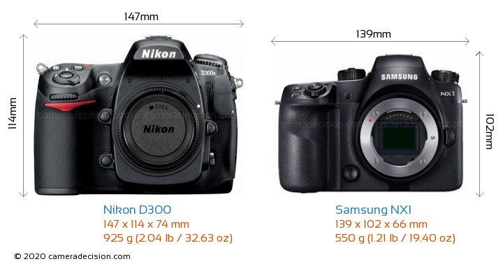Nikon D300 vs Samsung NX1 Camera Size Comparison - Front View