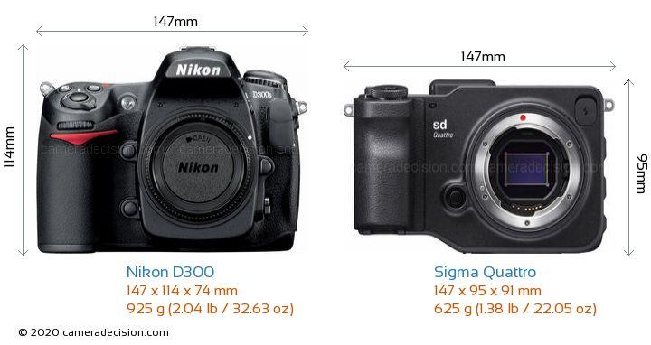 Nikon D300 vs Sigma Quattro Camera Size Comparison - Front View