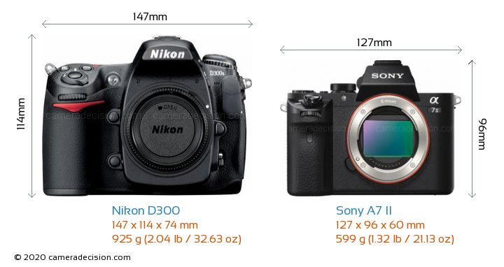 Nikon D300 vs Sony A7 II Camera Size Comparison - Front View