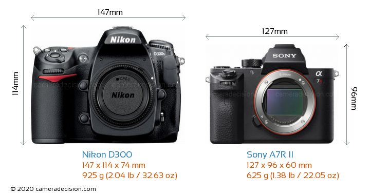 Nikon D300 vs Sony A7R II Camera Size Comparison - Front View