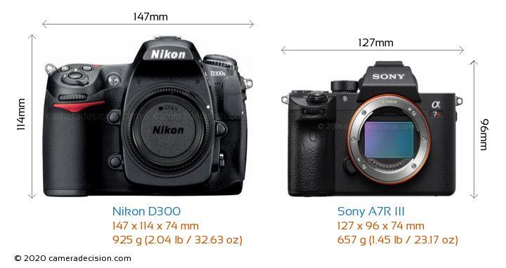 Nikon D300 vs Sony A7R III Camera Size Comparison - Front View