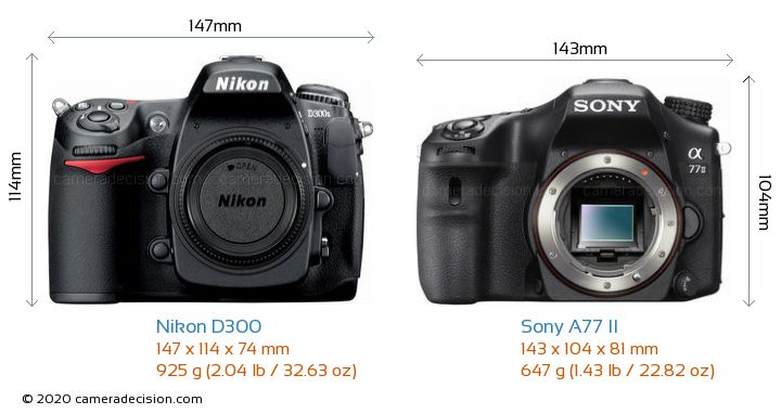 Nikon D300 vs Sony A77 II Camera Size Comparison - Front View