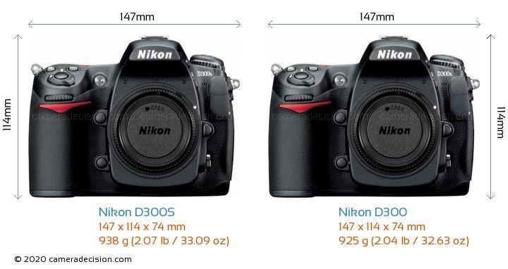 Nikon D300S vs Nikon D300 Camera Size Comparison - Front View
