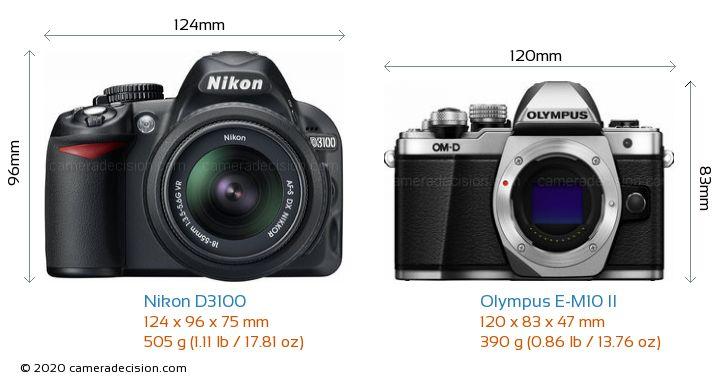 Nikon D3100 vs Olympus E-M10 II Camera Size Comparison - Front View