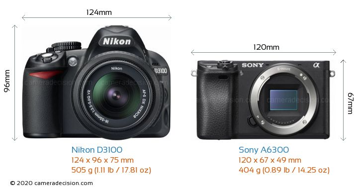 Nikon D3100 vs Sony A6300 Camera Size Comparison - Front View