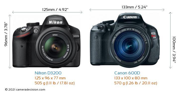Nikon D3200 vs Canon 600D Camera Size Comparison - Front View