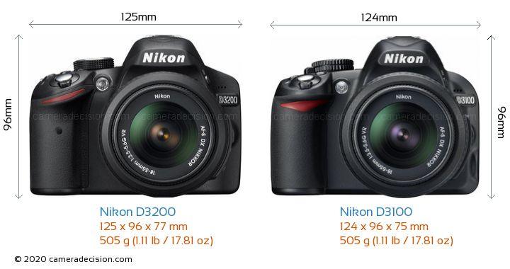 Nikon D3200 vs Nikon D3100 Camera Size Comparison - Front View
