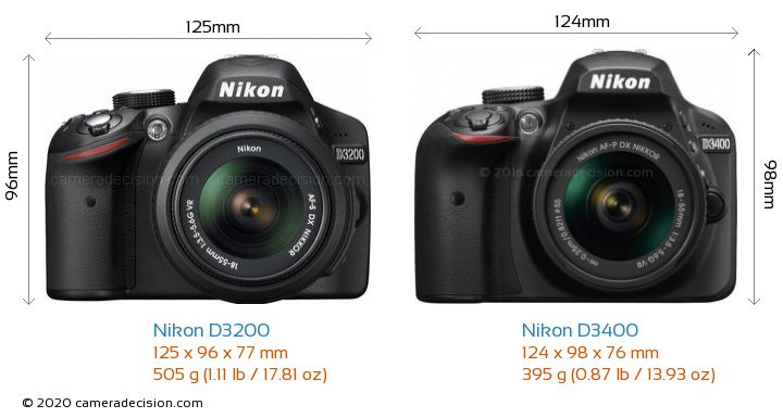 Nikon D3200 vs Nikon D3400 Camera Size Comparison - Front View