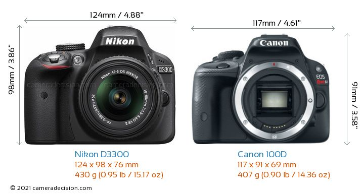 Nikon D3300 vs Canon 100D Camera Size Comparison - Front View