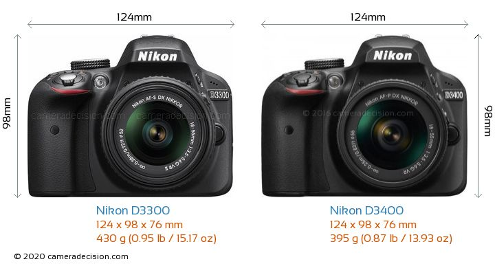 Nikon D3300 vs Nikon D3400 Camera Size Comparison - Front View