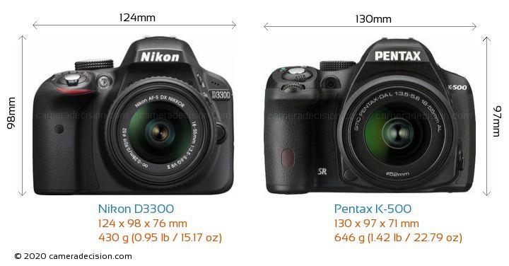 Nikon D3300 vs Pentax K-500 Camera Size Comparison - Front View