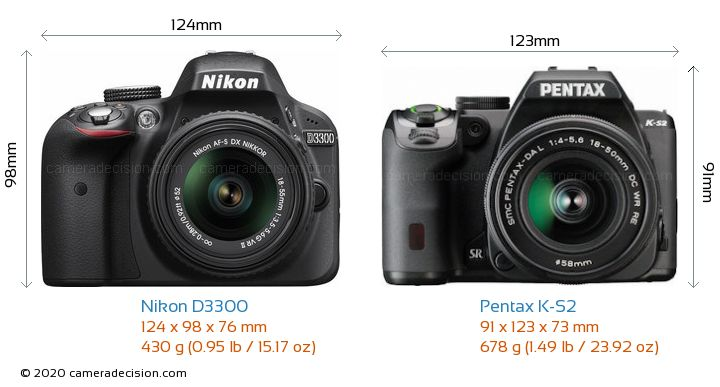 Nikon D3300 vs Pentax K-S2 Camera Size Comparison - Front View