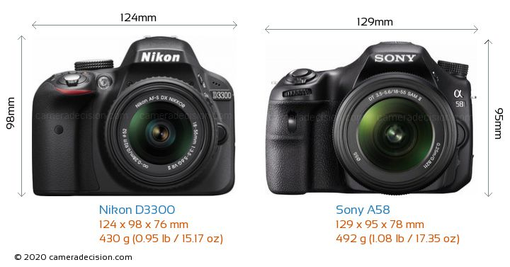 Nikon D3300 vs Sony A58 Camera Size Comparison - Front View
