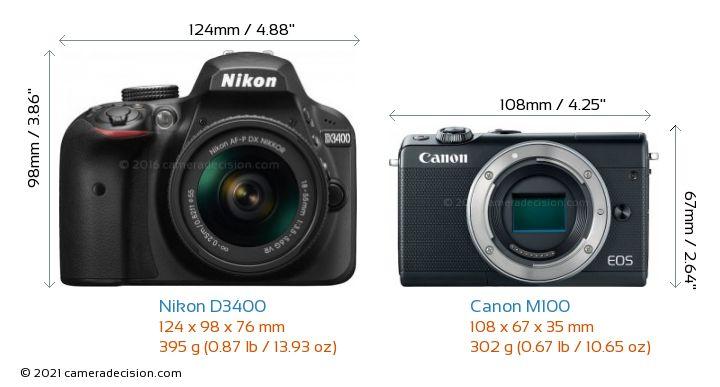 Nikon D3400 vs Canon M100 Camera Size Comparison - Front View
