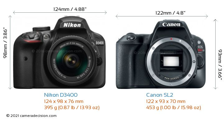 Nikon D3400 vs Canon SL2 Camera Size Comparison - Front View